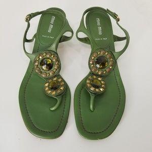 Miu Miu leather embellished kitten heel sandals